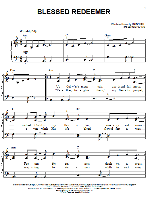 Casting Crowns Blessed Redeemer Sheet Music Notes Chords