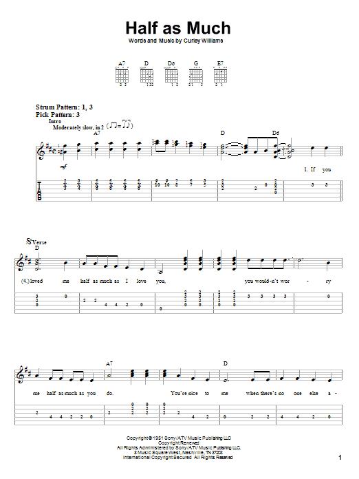 Hank Williams Half As Much Sheet Music Notes Chords Printable