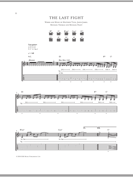 Bullet For My Valentine The Last Fight Sheet Music Notes Chords