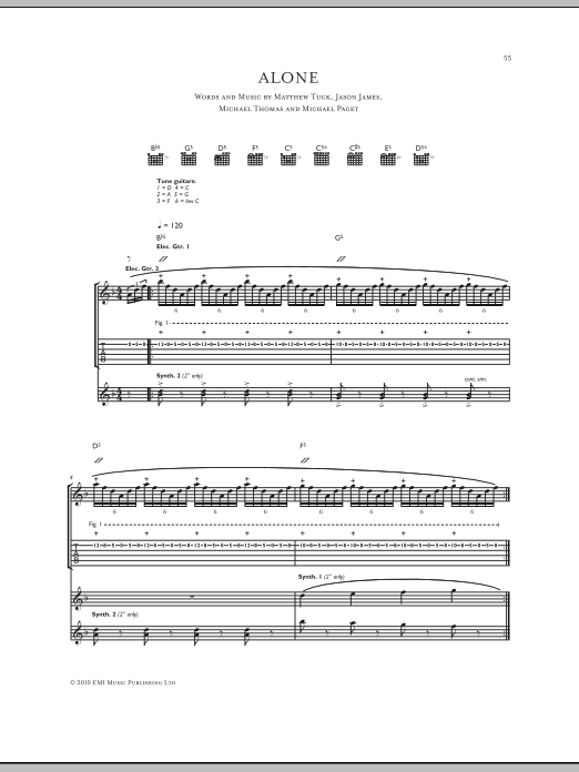 Bullet For My Valentine Alone Sheet Music Notes Chords