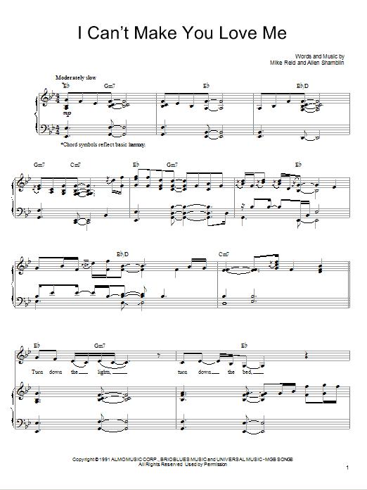 Bonnie Raitt I Cant Make You Love Me Sheet Music Notes Chords