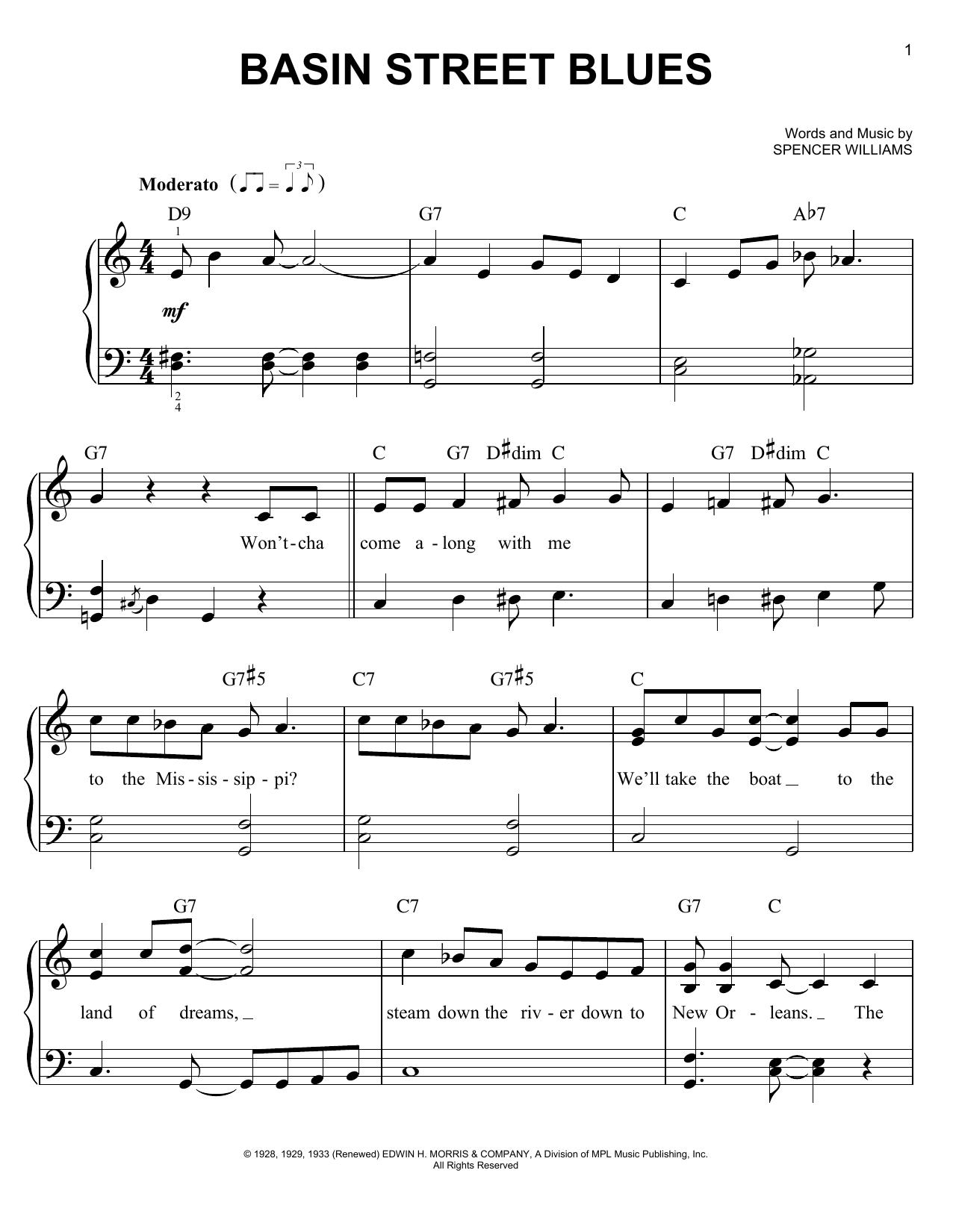 Louis Armstrong Basin Street Blues Sheet Music Notes Chords
