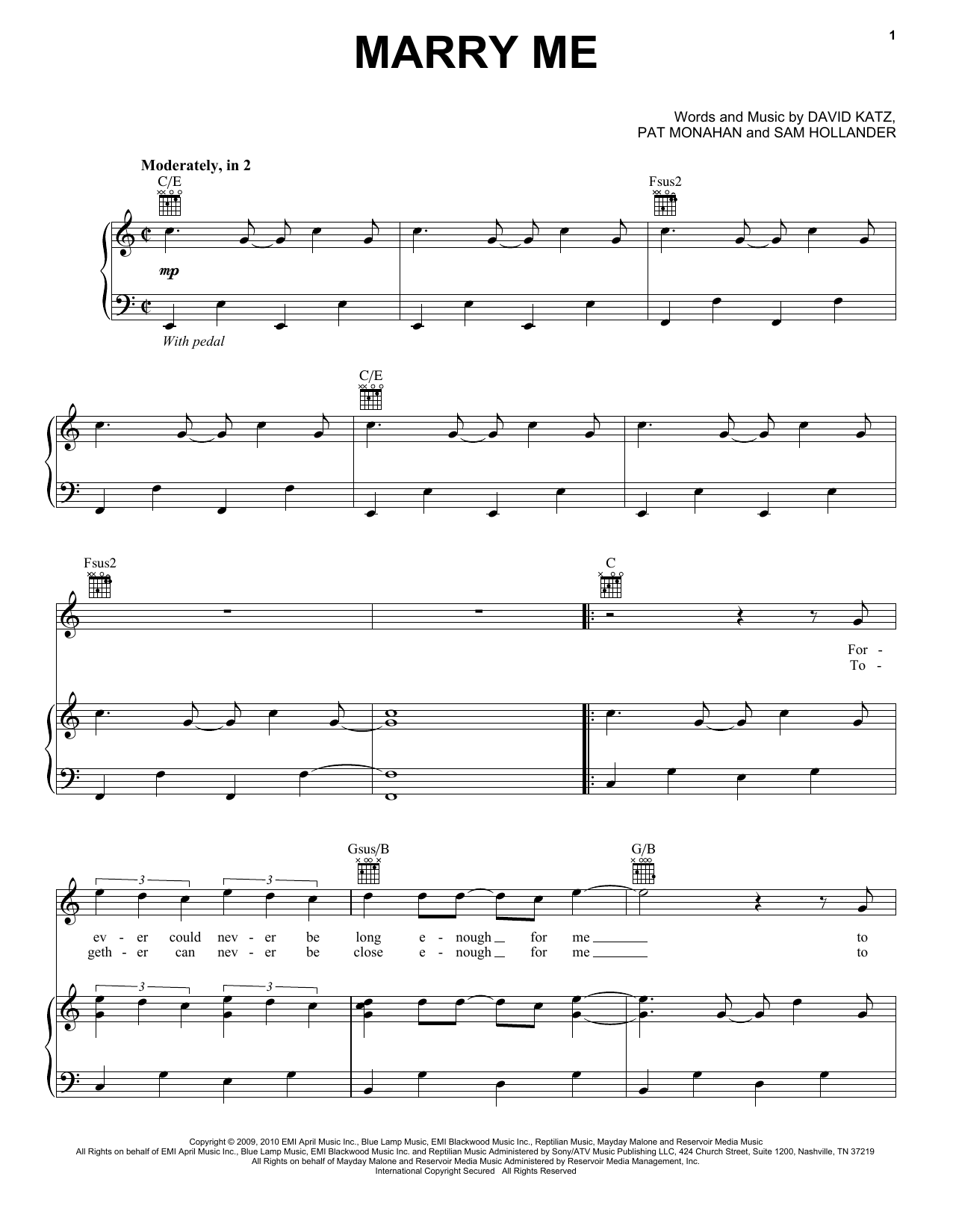 Train Marry Me Sheet Music Notes Chords Printable Rock Piano