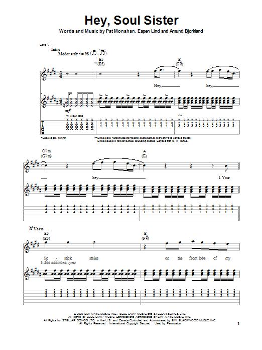 Train Hey Soul Sister Sheet Music Notes Chords Printable Rock Delectable Hey Soul Sister Ukulele Strum Pattern
