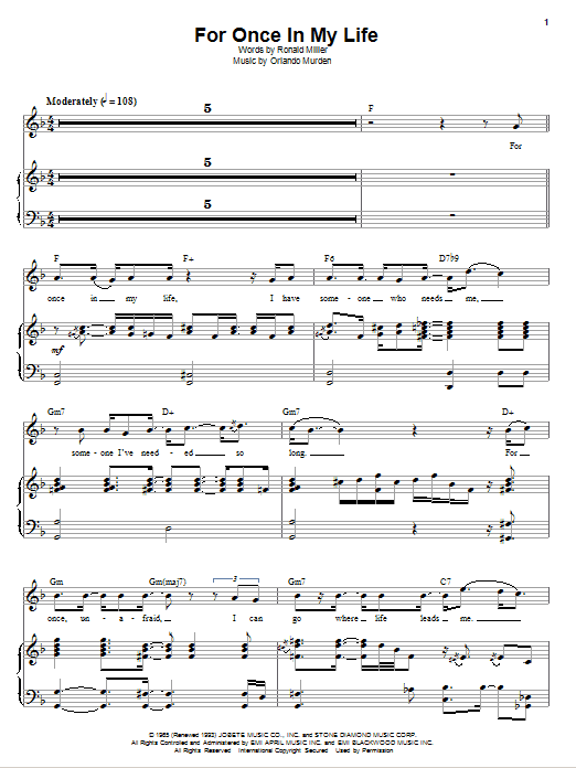 Stevie Wonder For Once In My Life Sheet Music Notes Chords