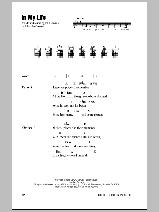 The Beatles In My Life Sheet Music Notes Chords Printable Pop