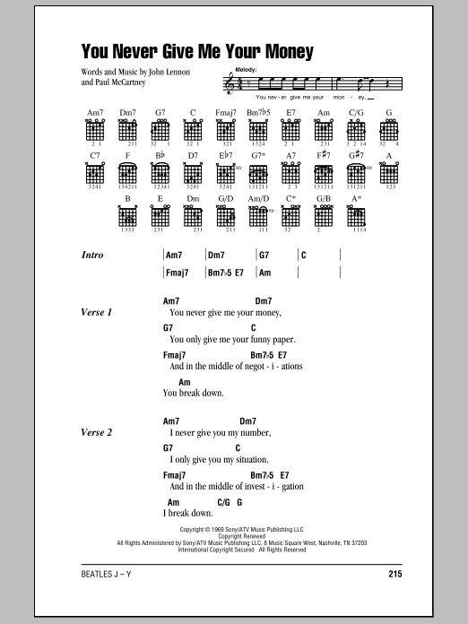 The Beatles You Never Give Me Your Money Sheet Music Notes Chords