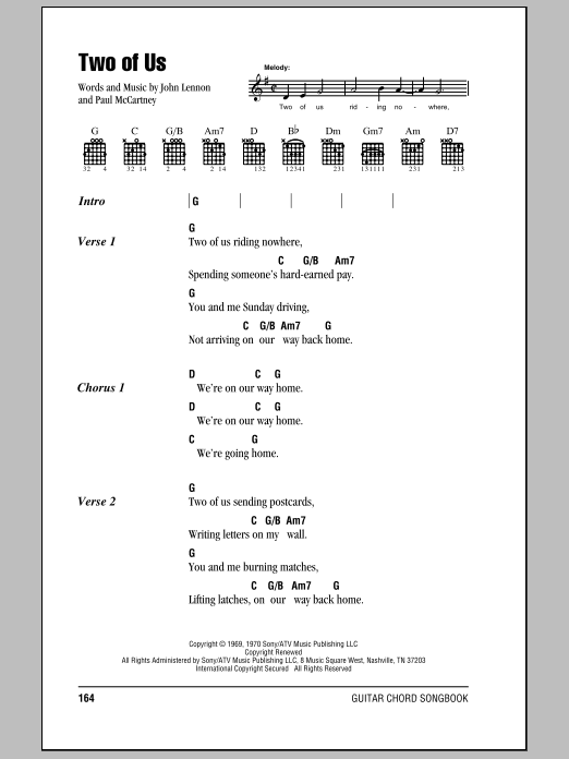 The Beatles Two Of Us Sheet Music Notes Chords Printable Rock