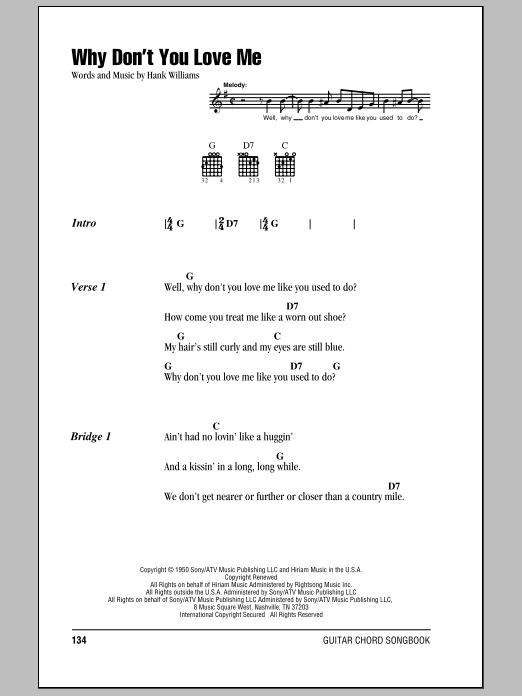 Hank Williams 'Why Don't You Love Me' Sheet Music Notes, Chords | Download  Printable Lyrics & Chords - SKU: 78915