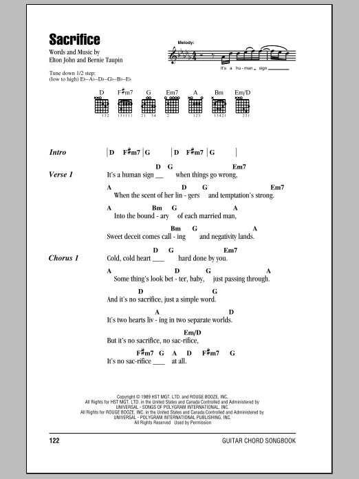 Elton John Sacrifice Sheet Music Notes Chords Printable Rock