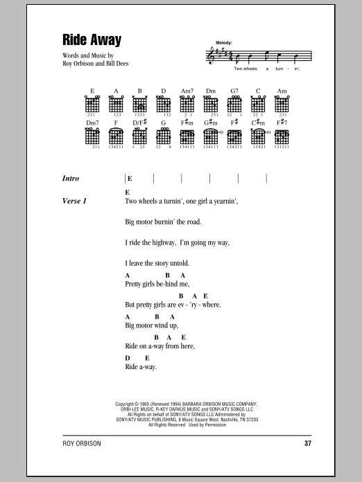Roy Orbison Ride Away Sheet Music Notes Chords Printable Rock