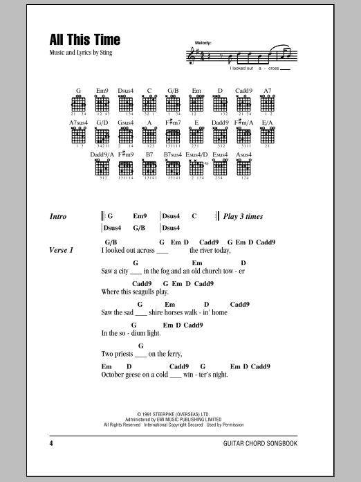 Sting All This Time Sheet Music Notes Chords Printable Rock