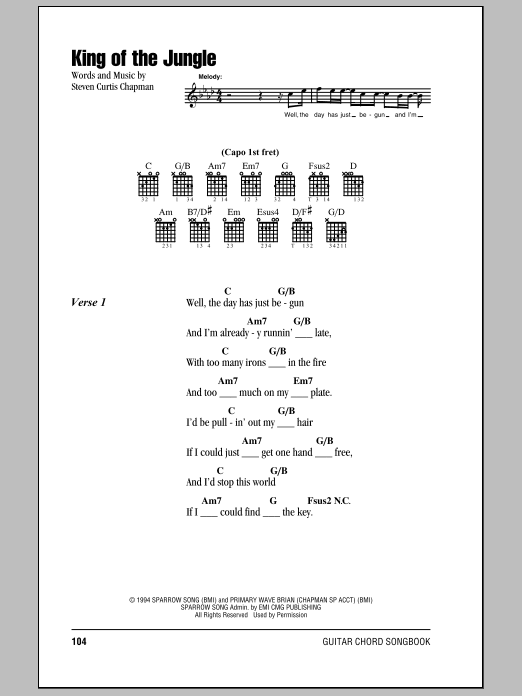 Steven Curtis Chapman King Of The Jungle Sheet Music Notes Chords