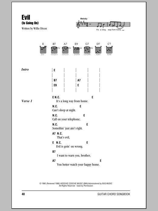 Eric Clapton Evil Is Going On Sheet Music Notes Chords