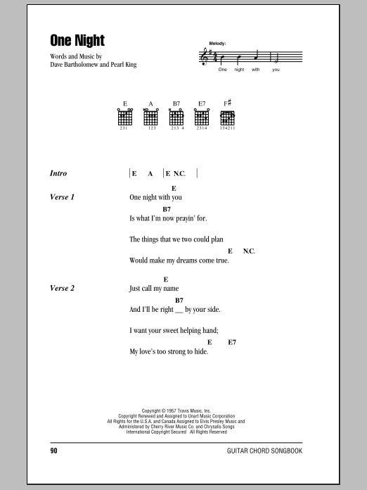 Elvis Presley One Night Sheet Music Notes Chords Printable Rock