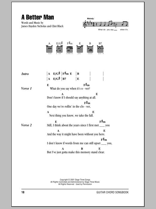 Clint Black A Better Man Sheet Music Notes Chords Printable Pop