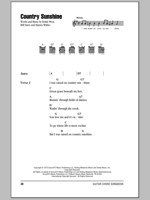 Dottie West Country Sunshine Sheet Music Notes Chords Printable