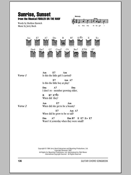 Bock Harnick Sunrise Sunset Sheet Music Notes Chords