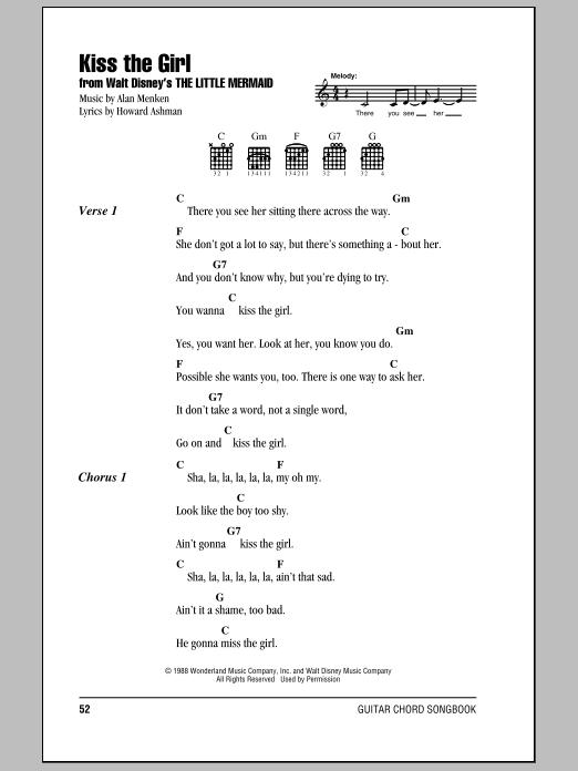 Alan Menken Kiss The Girl Sheet Music Notes Chords Printable