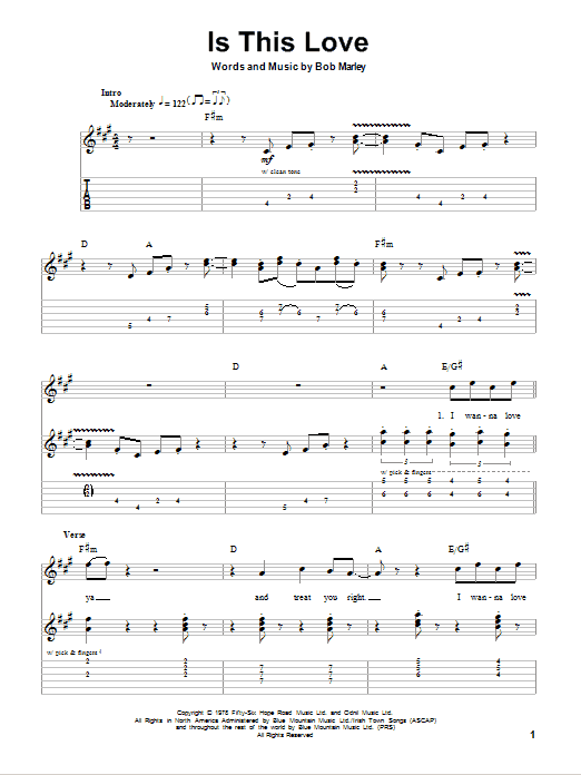 Bob Marley Is This Love Sheet Music Notes Chords Printable Pop