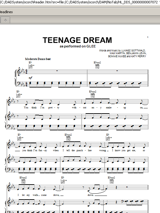 Glee Cast Teenage Dream Sheet Music Notes Chords Printable Pop