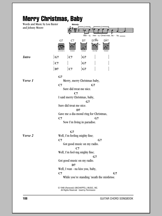 Elvis Presley Merry Christmas Baby Sheet Music Notes Chords