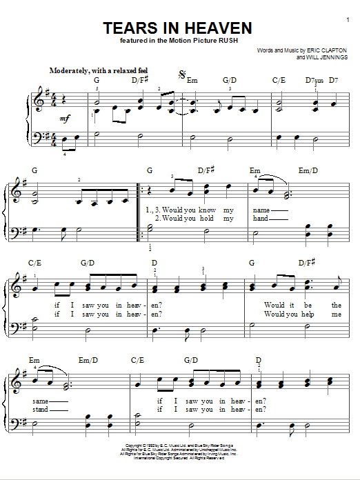 Eric Clapton Tears In Heaven Sheet Music Notes Chords Printable