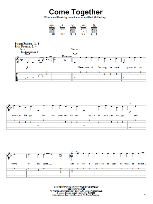 The Beatles Come Together Sheet Music Notes Chords Printable