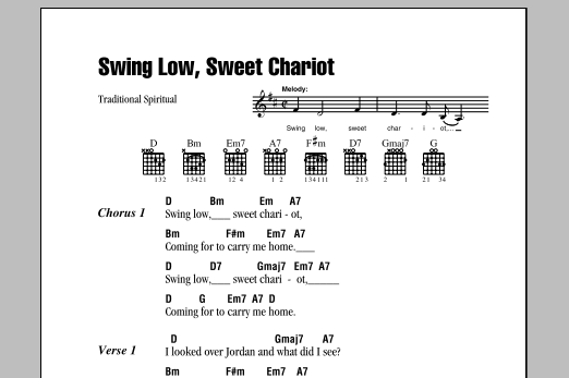 Traditional Spiritual Swing Low Sweet Chariot Sheet Music Notes