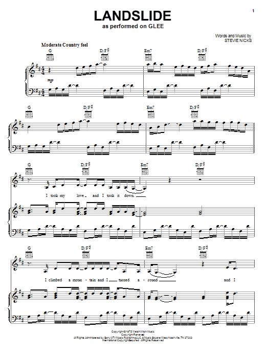 Glee Cast Landslide Sheet Music Notes Chords Printable Rock