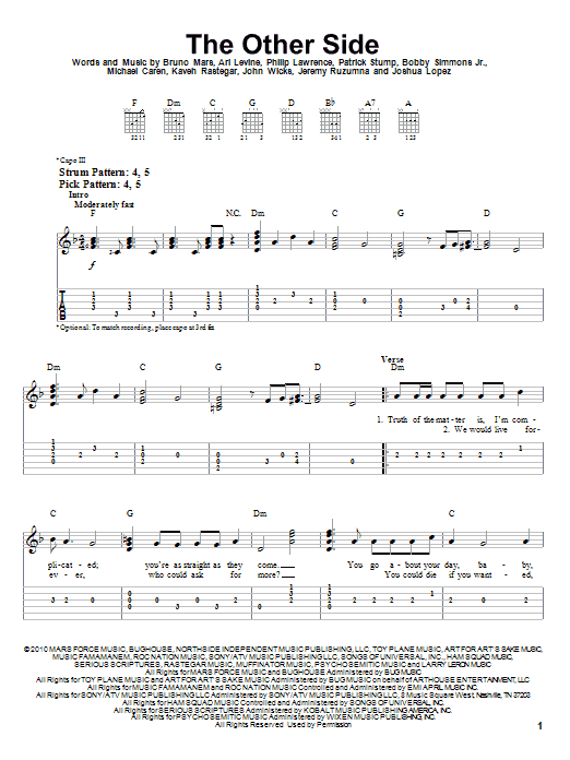 Bruno Mars The Other Side Sheet Music Notes Chords Printable