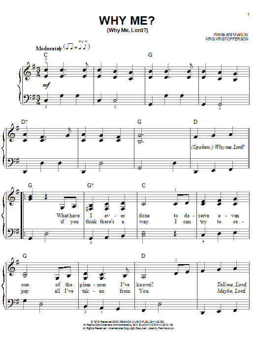 Kris Kristofferson Why Me Why Me Lord Sheet Music Notes