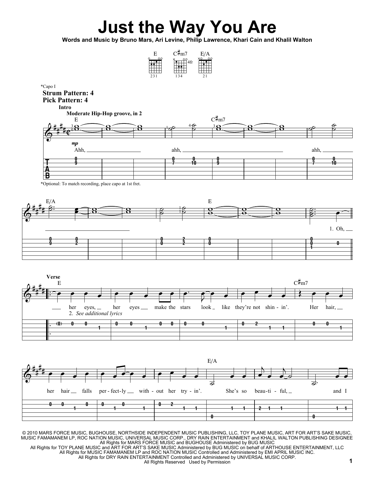 Bruno Mars Just The Way You Are Sheet Music Notes Chords