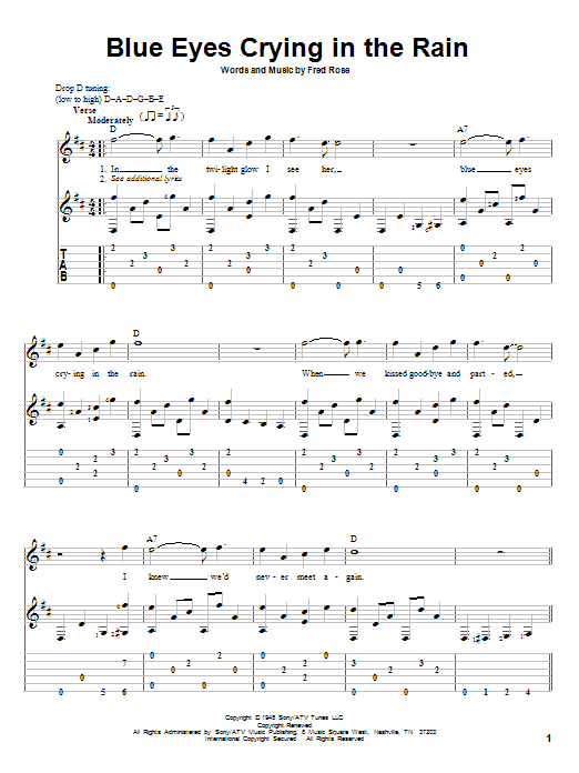 Willie Nelson Blue Eyes Crying In The Rain Sheet Music Notes