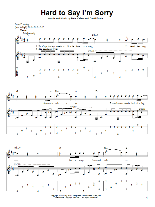 Chicago Hard To Say Im Sorry Sheet Music Notes Chords