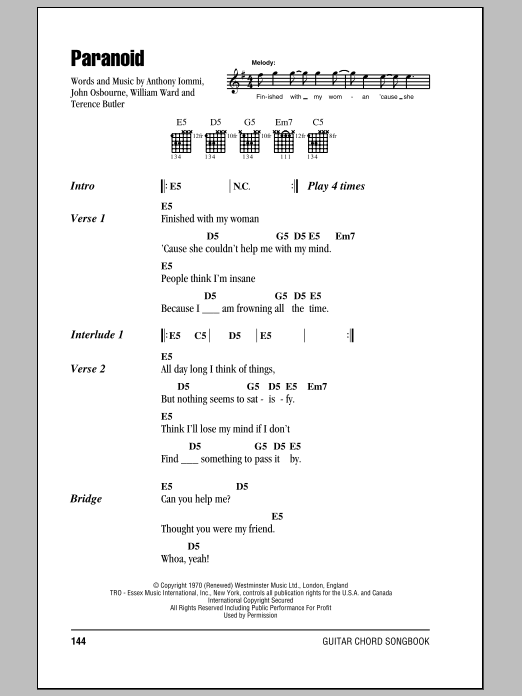 Black Sabbath Paranoid Sheet Music Notes Chords Printable Pop