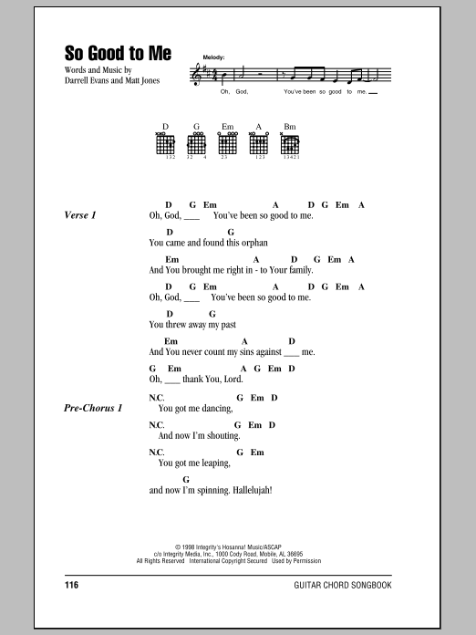 Darrell Evans So Good To Me Sheet Music Notes Chords Printable
