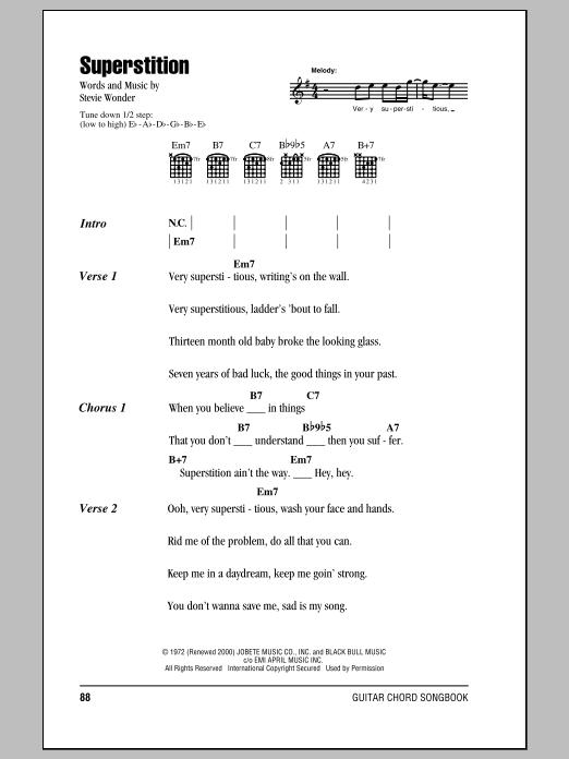 Stevie Wonder Superstition Sheet Music Notes Chords Printable