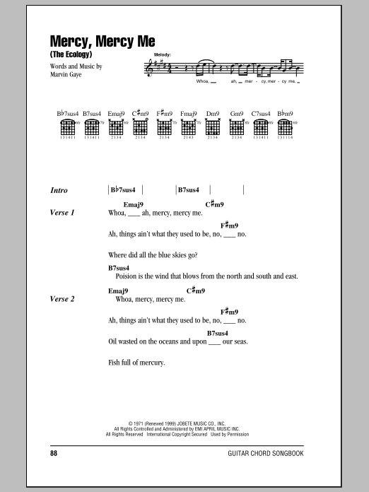 Marvin Gaye Mercy Mercy Me The Ecology Sheet Music Notes