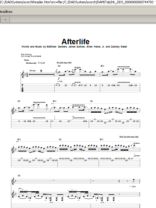 Avenged Sevenfold Afterlife Sheet Music Notes Chords Printable