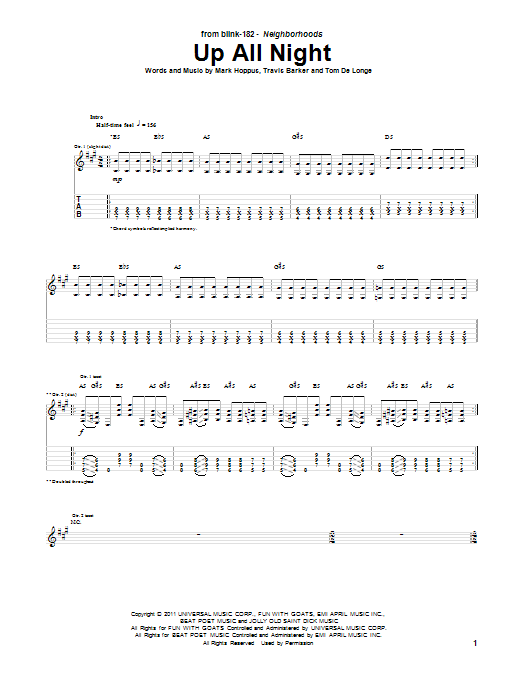 Blink 182 Up All Night Sheet Music Notes Chords Printable Rock