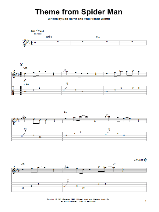 Bob Harris Theme From Spider Man Sheet Music Notes Chords