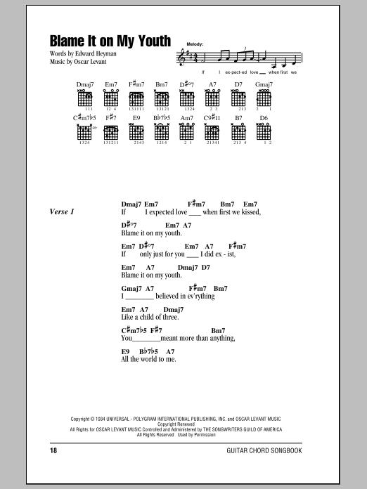 Edward Heyman Blame It On My Youth Sheet Music Notes Chords