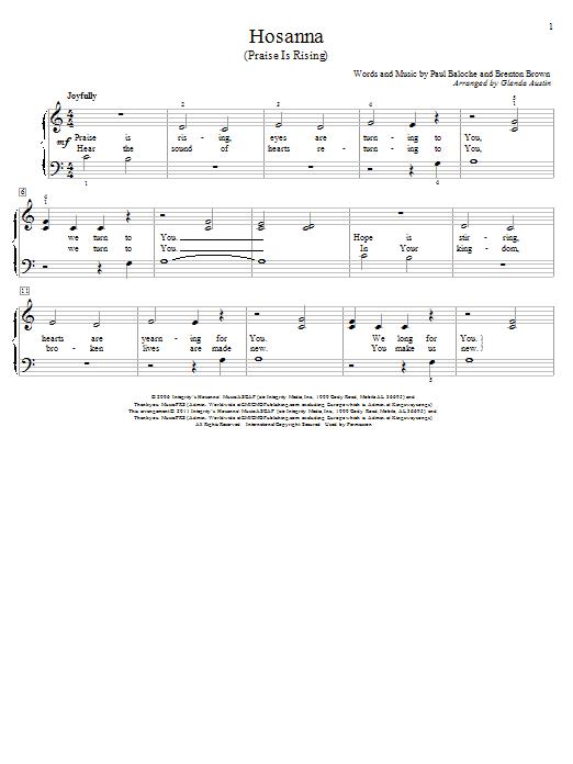 Paul Baloche Hosanna Praise Is Rising Sheet Music Notes Chords