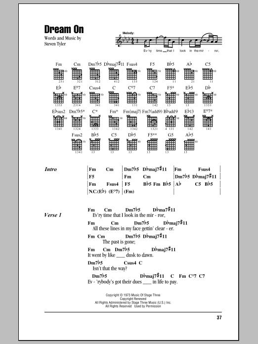 Aerosmith Dream On Sheet Music Notes Chords Printable Pop
