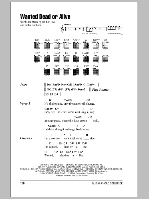 Bon Jovi Wanted Dead Or Alive Sheet Music Notes Chords