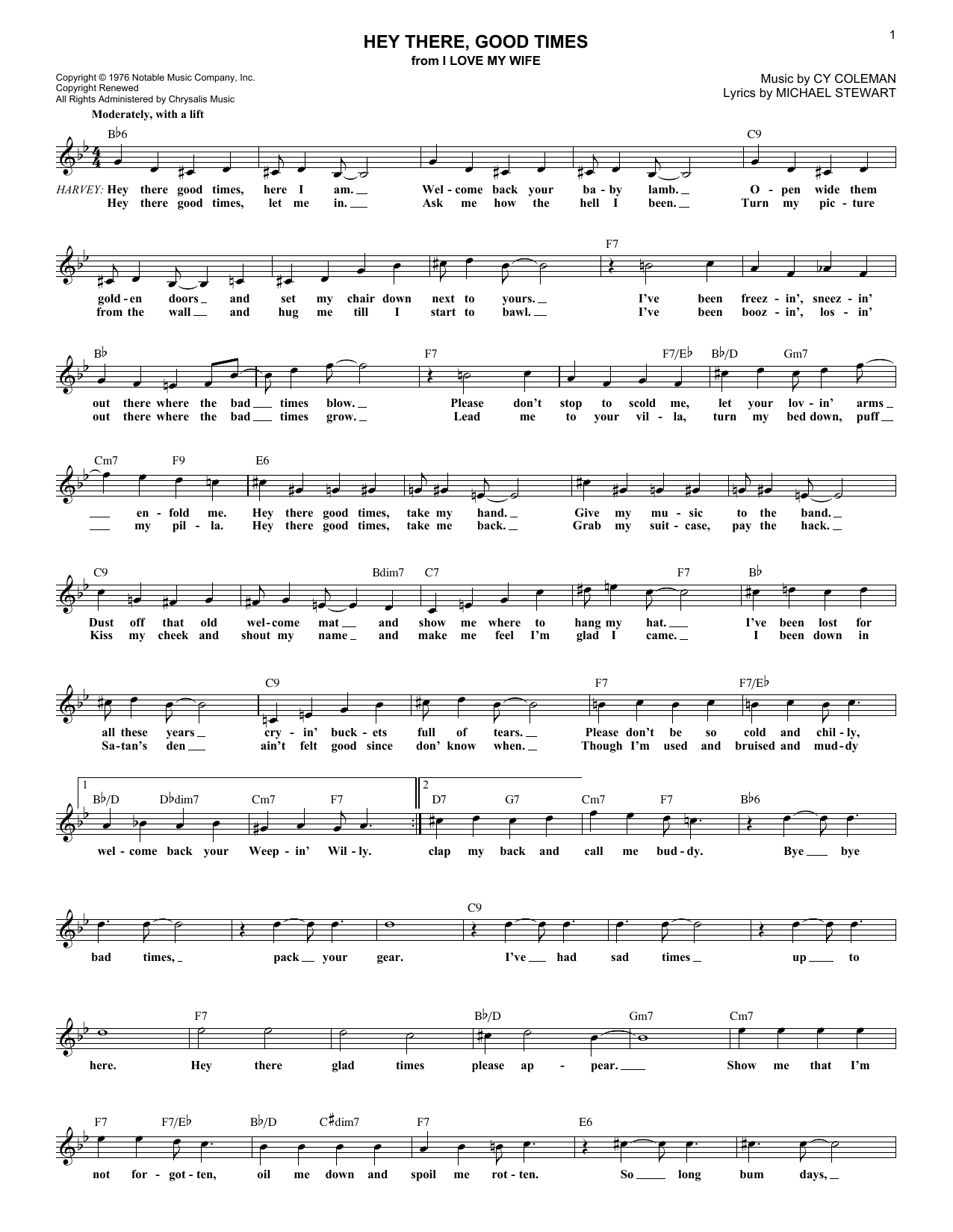 Michael Stewart Hey There Good Times Sheet Music Notes Chords