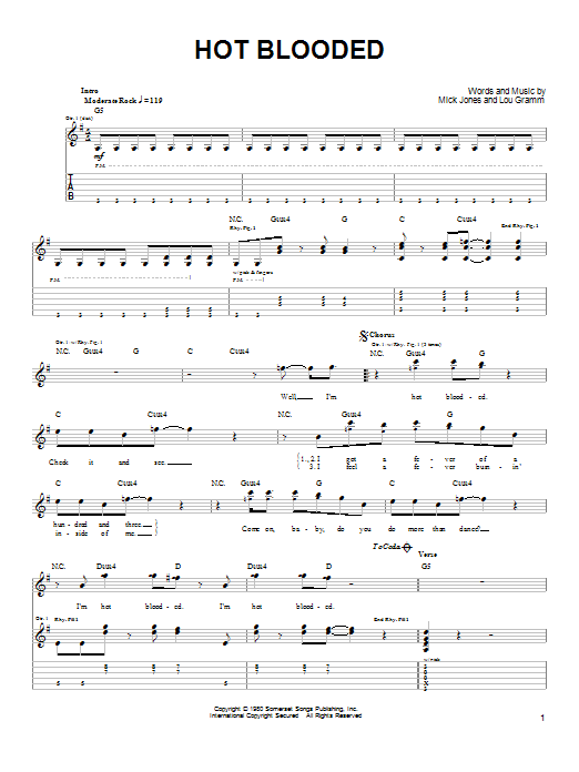 Foreigner 'Hot Blooded' Sheet Music Notes, Chords | Download Printable Easy  Guitar - SKU: 85910
