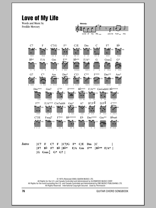 Queen Love Of My Life Sheet Music Notes Chords Printable Rock