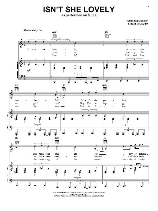 Glee Cast Isnt She Lovely Sheet Music Notes Chords Printable